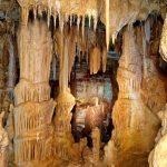 Stalactites and stalagmites formation inside Petralona Cave