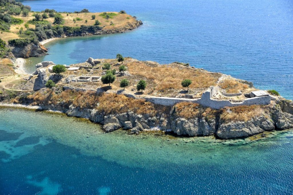 Ancient town of Toroni from the air