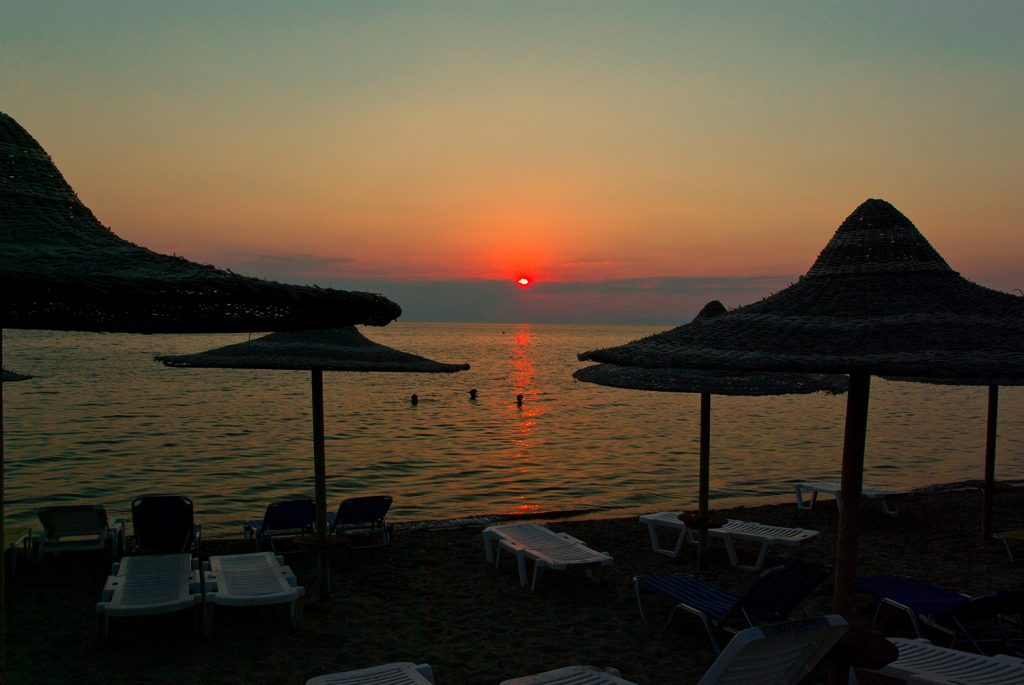 Neos Marmaras beach at sunset
