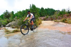 Crossing dragoudeli with a mountain bike