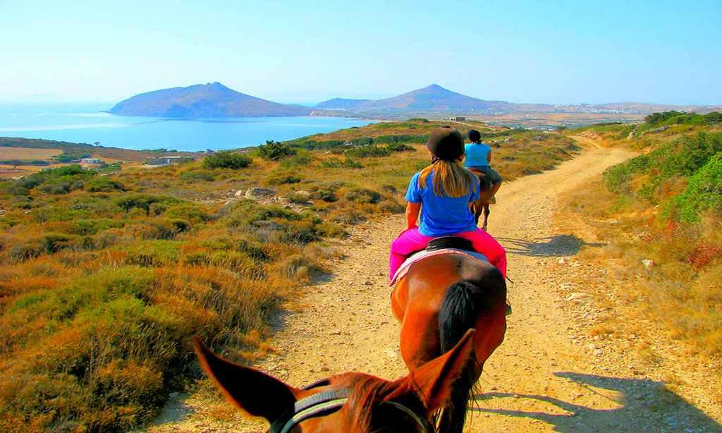 Children riding horses in Sithonia