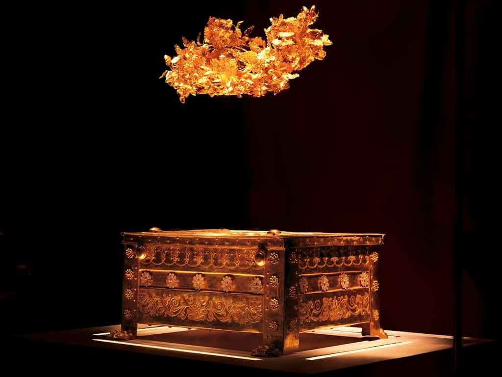 The golden larnax of Philip II at Vergina Museum