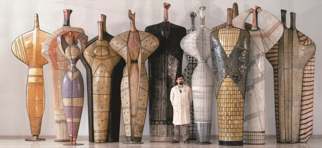 Theodoros Papagiannis with his sculpures