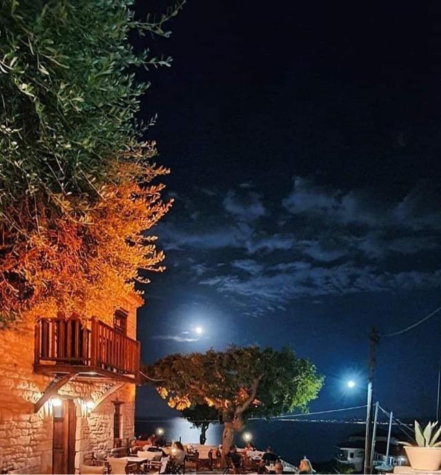 Afitos village by night