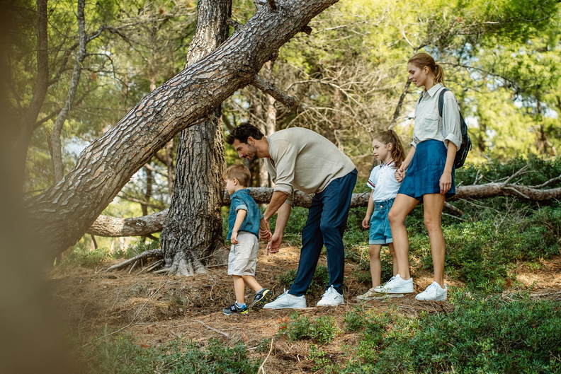 Family walking in the forrest
